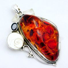 Vintage Amber Pendant -925 Sterling Silver Amber Pendant-Real-Red Blood Garnet/Natural Stone Jewelry-Baltic Amber Pendant