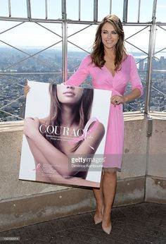 Elizabeth Hurley lights The Empire State Building pink to celebrate the 20th anniversary of the Estee Lauder companies' Breast Cancer Awareness campaign at The Empire State Building on October 1, 2012 in New York City.