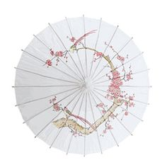 "Cherry Blossom and Birds Parasol, Oiled Paper Parasol Umbrella for $9.95 Measures 32"" in diameter"