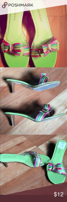 Rampage ribbon sandals. Excellent condition!!! Springy, sunny , worn once. Excellent condition ! Size 10. These are such a great find!! Rampage Shoes Heels