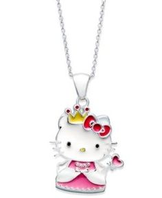 Hello Kitty Necklace, Sterling Silver Princess Kitty Fairy Pendant  #HelloKitty #Jewelry #Deals