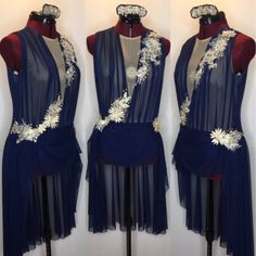 Romantic navy blue custom dance costume.   gLAM by Adora - Costumes