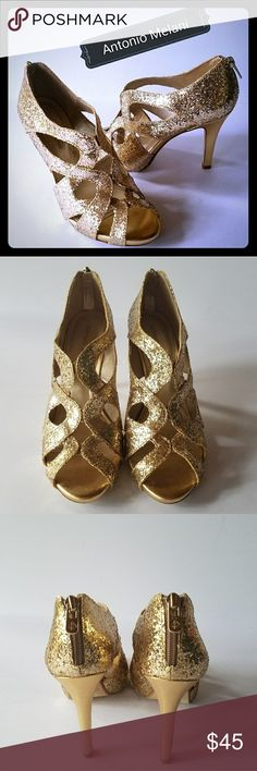 "Gold Glitter Heels by Antonio melani Chic gold glitter sandals with zip back heels 4"". Size 8.5 m in very good condition only worn a couple times. ANTONIO MELANI Shoes Heels"