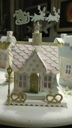 Crafts – The Lone Girl in a Crowd Christmas Village Houses, Putz Houses, Christmas Villages, Christmas Paper, Christmas Home, Christmas Mantles, Victorian Christmas, Christmas Christmas, Vintage Christmas
