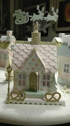 Huisjes van Tim Holtz stans gemaakt door Colette