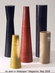 Grooved Turned Wood  Salt and Pepper Mills by Jabou Designs
