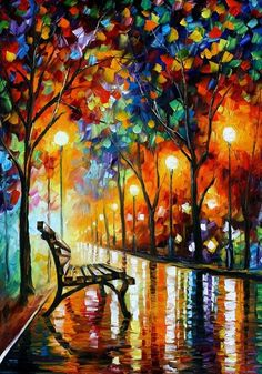 THE LONELINESS OF AUTUMN by Leonid Afremov.  Artist's Statement.  This is an original oil on canvas from my older collection, now you can see the picture in higher resolution.. I use only a palette-knife for painting. I have not used a brush in this painting. I use only natural oil paint and 100% pure cotton canvas. This painting will be available for auction on www.afremov.com