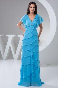 V-neck Floor-Length Short Chiffon Sheath/ Column Formal Evening Dress