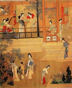 Chinese Tang Dynasty Mural artwork of daily court life