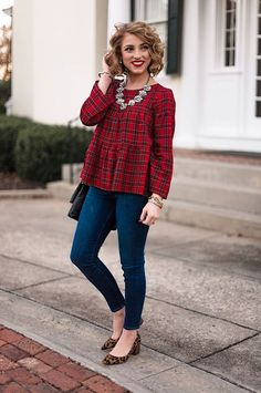 Madewell Plaid Tiered Button-back Top - Something Delightful Preppy Mode, Preppy Style, Fall Outfits, Casual Outfits, Cute Outfits, Party Outfits, Rock Outfits, Summer Outfits, Holiday Fashion
