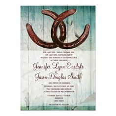 Rustic Wedding Invitation, Country Style with Horse Shoes, $2.30 per card