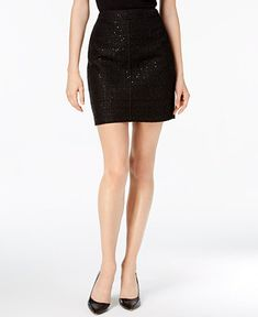 Anne Klein Sequined Tweed Mini Skirt - Skirts - Women - Macy's