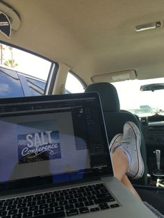 When you can't stand working in your house - you go to the beach and work from your car   Live Salted Beginnings