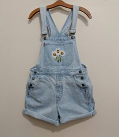 47010b534e30  etsy  Vintage 90s faded Denim Overalls  Shorts  Daisy Applique http
