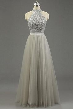 Gray tulle halter sequins A-line long evening dresses,simple prom dress for teenagers