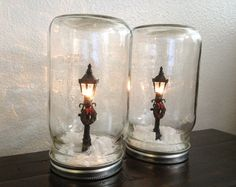 Mason Jar Christmas Centerpieces | Two Waterless Christmas Snow Globes in Mason by LaceTwineAndBurlap
