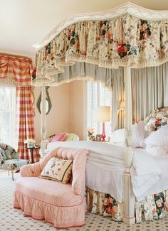 I must admit I love chintz and feel more comfortable nestled in this type of room than something minimal.  That being said, my husband and I have sage green on ivory toile curtains and an understated complementary bedspread.  One must compromise.....alas!