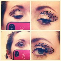 Cheetah print eye makeup.