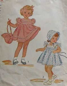 Vintage 1940s Toddler Girls Dress & Bonnet Sewing Pattern