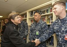 Rear Adm. Margaret Kibben, chief of Navy chaplains, meets with Sailors from the Religious Ministries Department aboard the aircraft carrier USS Nimitz (CVN 68) during a visit.