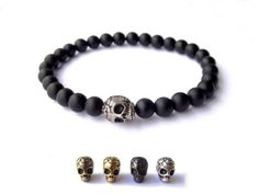 Men's Bracelet - Black matte gemstone beads - silver plated Skull