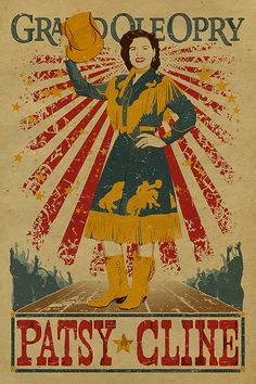 Patsy Cline Poster. Grand Ole Opry. 12x18. Country Music. Kraft paper. Knoxville. Nashville. TN. Tennessee Art.