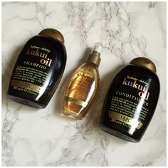 OGX Hydrate + Defrizz Kukui Oil Shampoo, Conditioner & Hydrating Oil.