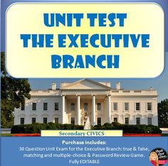 The EXECUTIVE Branch Unit TEST - Editable (Civics/U.S. Government)  This purchase includes a 30-question test for the Unit: The EXECUTIVE Branch for secondary Civics/U.S. Government and a fun review Password game. Questions include true and false, matching and multiple-choice. The test is editable so you can edit if necessary. An answer KEY is included.