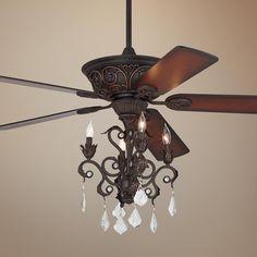 "52"" Casa Contessa™ Dark Bronze Chandelier Ceiling Fan"