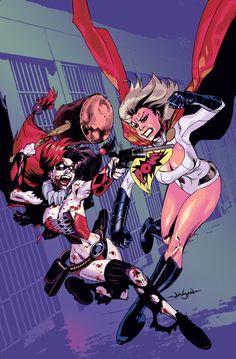Powergirl vs Harley Quinn- Jason Pearson