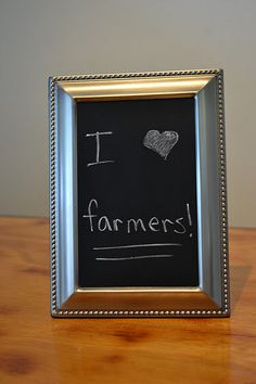 chalkboard picture frame...supper easy and cheap!