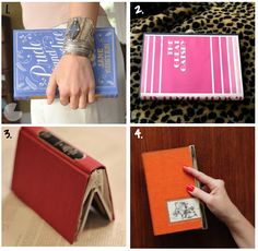 DIY book clutch... I could see doing this with an old ruined book from a second hand store, it would fit nicely in the side of your diaper bag but be firm enough to not lose your stuff or have an extra bag to carry.