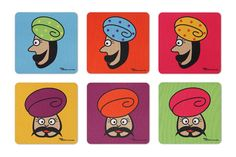 6-Jalebi-Turban-Man-Coasters-Set-of-6-India-Circus-by-Krsna-Mehta.jpg 450×300 pixels