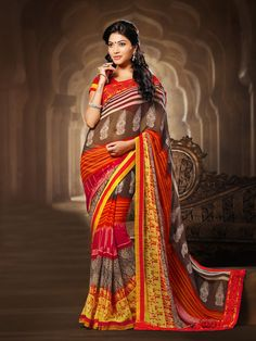 53b1f811f0 G3 fashions Coffee red georgette printed saree Products code: G3-WSA2261  Price: ₹ 2350.00