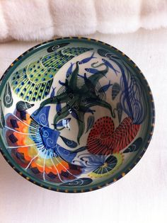 Ceramic bowl by Pru Green, Wivenhoe, decorated with sea creatures. Beautiful.