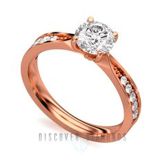 Certified 0.90 Ct Round Diamond 14k Solid Rose Gold Solitaire Engagement Ring #discoverdiamonds #Solitaire