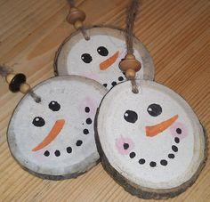 Snowman Christmas Ornament - Double Sided - Rustic Primitive Tree Decor. $19.50, via Etsy.