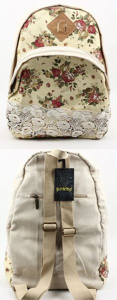 bb4ef8f679 New Flowers Canvas Large Capacity Backpacks ipad Bag Fresh Wind Cute Pig s  Nose