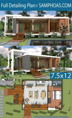 Sketchup Speed Build Home Design 7 is part of Sketchup Speed Build Home Design Xm Samphoas Plan - Sketchup Speed Build Home Design 7 This villa is modeling by SAMARCHITECT With 2 stories level It's has 1 bedroom One Bedrooms Home Plan 7 d Modern Small House Design, Simple House Design, House Front Design, Tiny House Design, Modern Bungalow House, Modern House Plans, Small House Plans, Building Design, Building A House