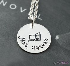 Teacher necklace, Teacher gift, Hand stamped gifts for teachers, Teacher appreciation, Book  necklace, Personalized on Etsy, $34.99