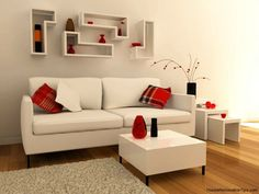 minimalist living | Modern interior living room minimalist white red