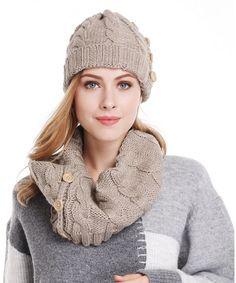 18a6e2826306f3 Women Lady Winter Warm Knitted Infinity Scarf and Beanie Hat Set Khaki  CC12MFYLX29