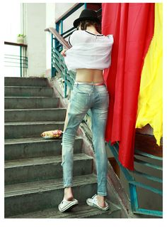 (33.99$)  Buy here  - Hole jeans fashion personality punk street female slim pencil skinny pants Sequined  Lady  Women Jeans