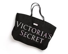 """25.00$  Watch here - http://viysa.justgood.pw/vig/item.php?t=xl32sts37244 - NEW Victoria's Secret Signature Tote in Black with Pink 21.5""""L x 6.5"""" W x 16"""" H"""