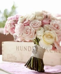 Stunning Wedding Bouquet ♥ Vintage Crystal Brooch & Satin Ribbon Handle
