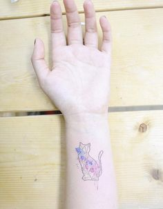 Geometric Watercolor Cat by Banul