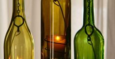 Three Glass Wine Bottle Hanging Hurricane Lanterns Green Olive Gold | Hanging Candle Lanterns, Hanging Candles and Bottle Candles