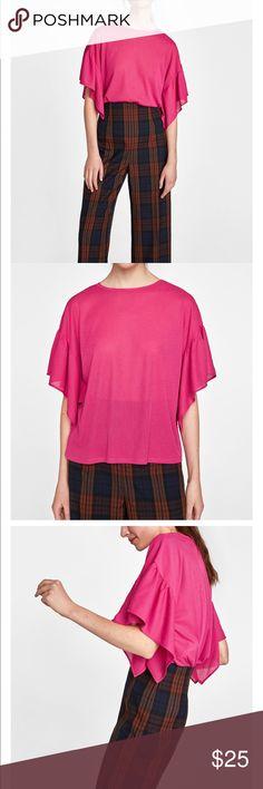 e5aac353bf Zara Ruffled Sleeved t-shirt Super cute