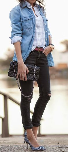 Chambray and Ripped With Pop Pumps