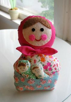 Babushka Matryoshka plush cloth doll with babies. $18.00, via Etsy.